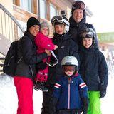 13. Februar 2014  Prinzessin Marie und Prinz Joachim von Dänemark fahren mit ihren Kindern Prinzessin Athena, Prinz Nikolai, Prinz Henrik und Prinz Felix in den Skiurlaub nach Villars in die Schweiz.