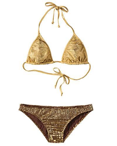 Reden ist Silber, Tragen ist Gold - Der schillernde Gold-Bikini von beth Modesto zieht garantiert Blicke auf sich (ca. 110 Euro,