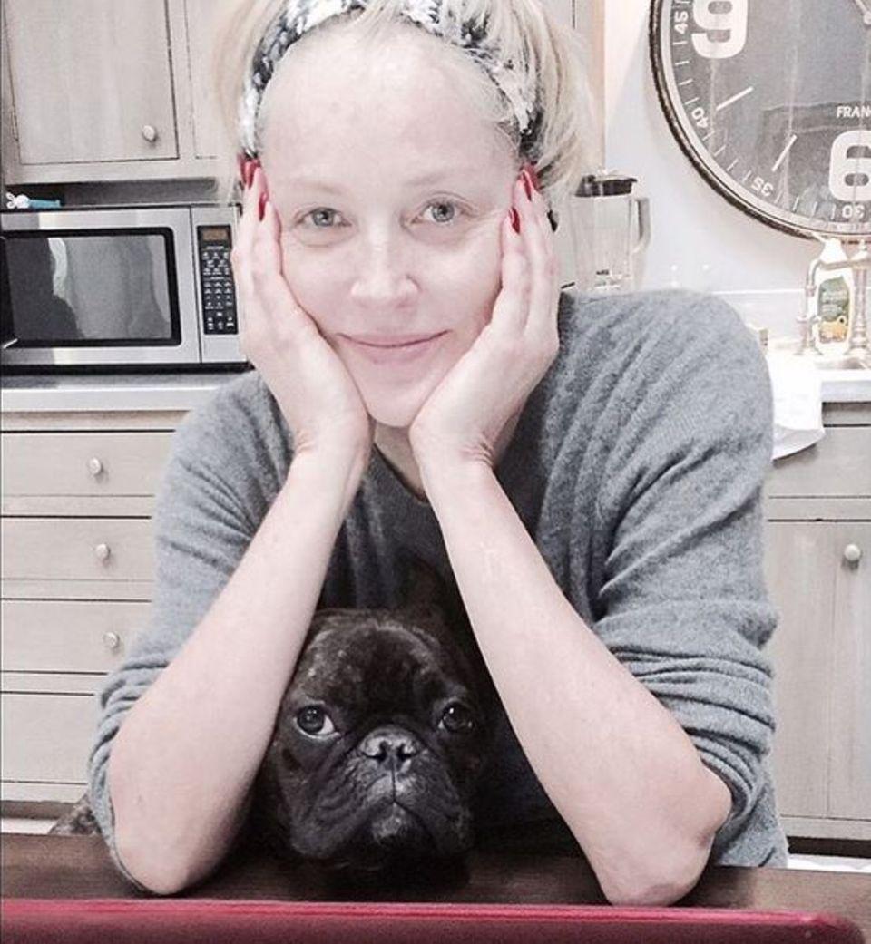 Sharon Stones Hund Joe hilft ihr an diesem verregneten Tag bei den E-Mails.
