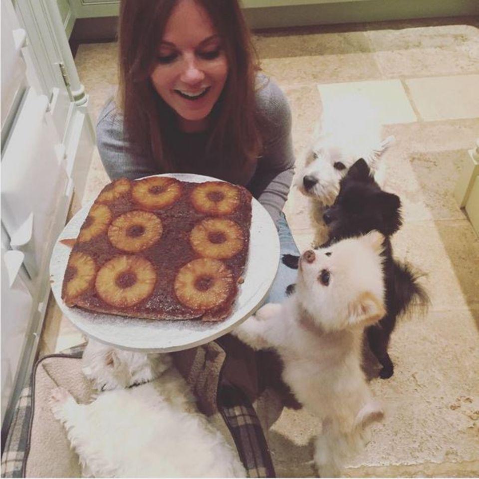 Geri Halliwell freut sich über ihren gelungenen Ananaskuchen. Ihr Hunderudel möchte auch mal kosten.