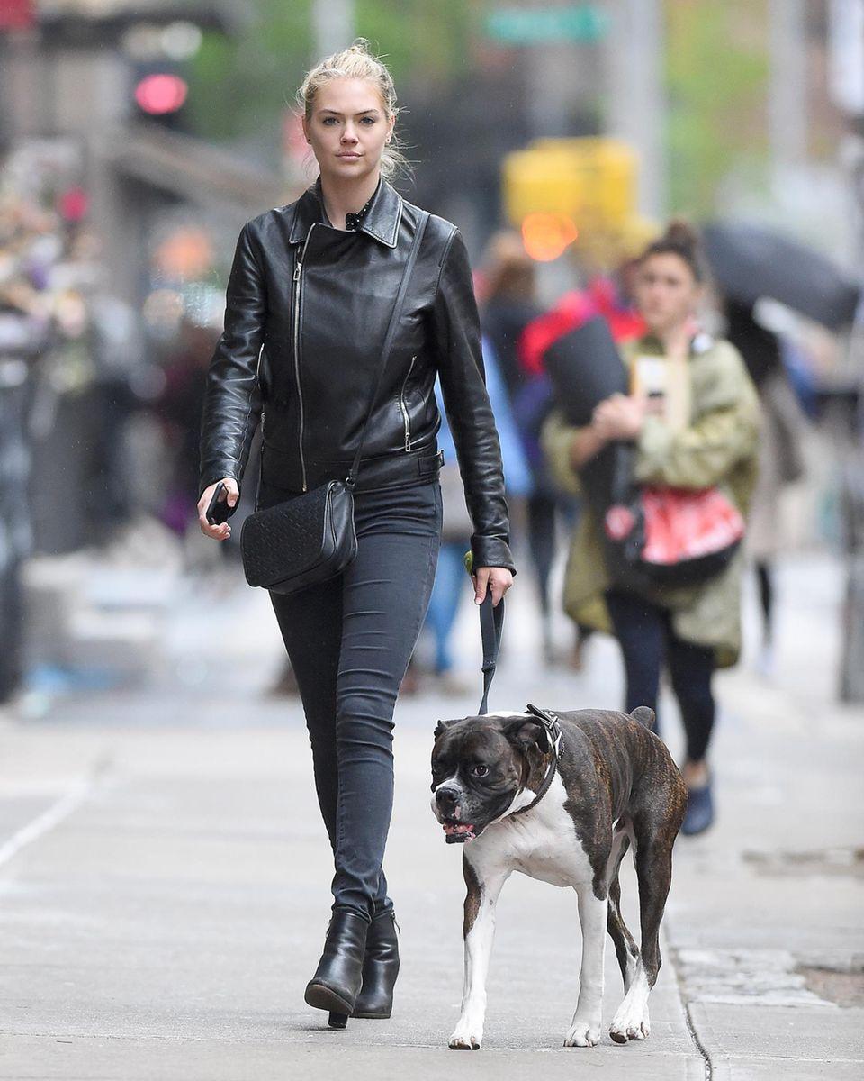 Model Kate Upton geht mit ihrem Hund Harley in New York Gassi.