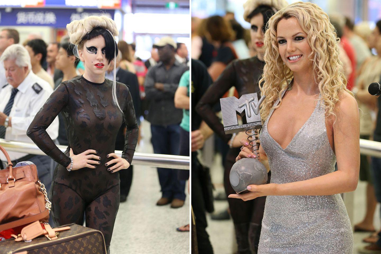 Lady GaGa und Britney Spears am Flughafen von Sydney - das ist das Werk der Künstler von Madame Tussauds in Australien.