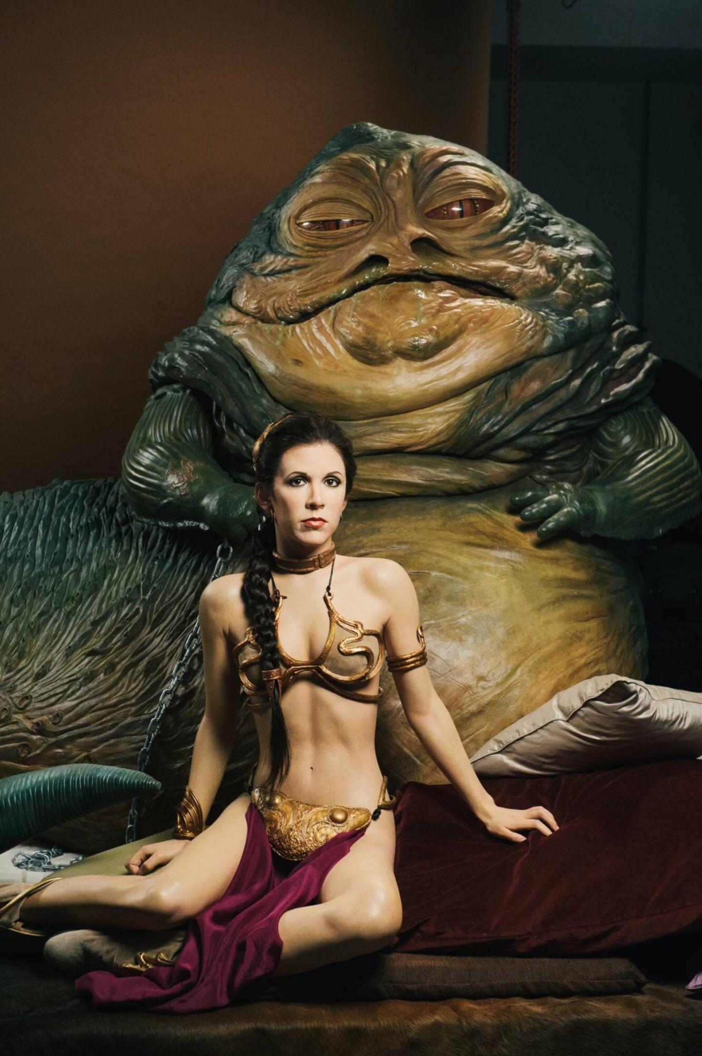 """Anlässlich der bevorstehenden """"Star Wars""""-Ausstellung bei Madame Tussauds in London werden die Wachsfiguren von Prinzessin Leia und Jabba the Hutt enthüllt."""