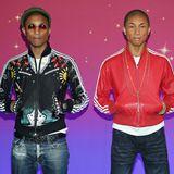 Pharrell Williams trifft zum ersten Mal auf sein Wachs-Double in New York City.