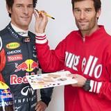 """Der australische """"Formel 1""""-Rennfahrer Mark Webber setzt den letzten Pinselstrich an seiner Wachsfigur bei Madame Tussauds in Sy"""