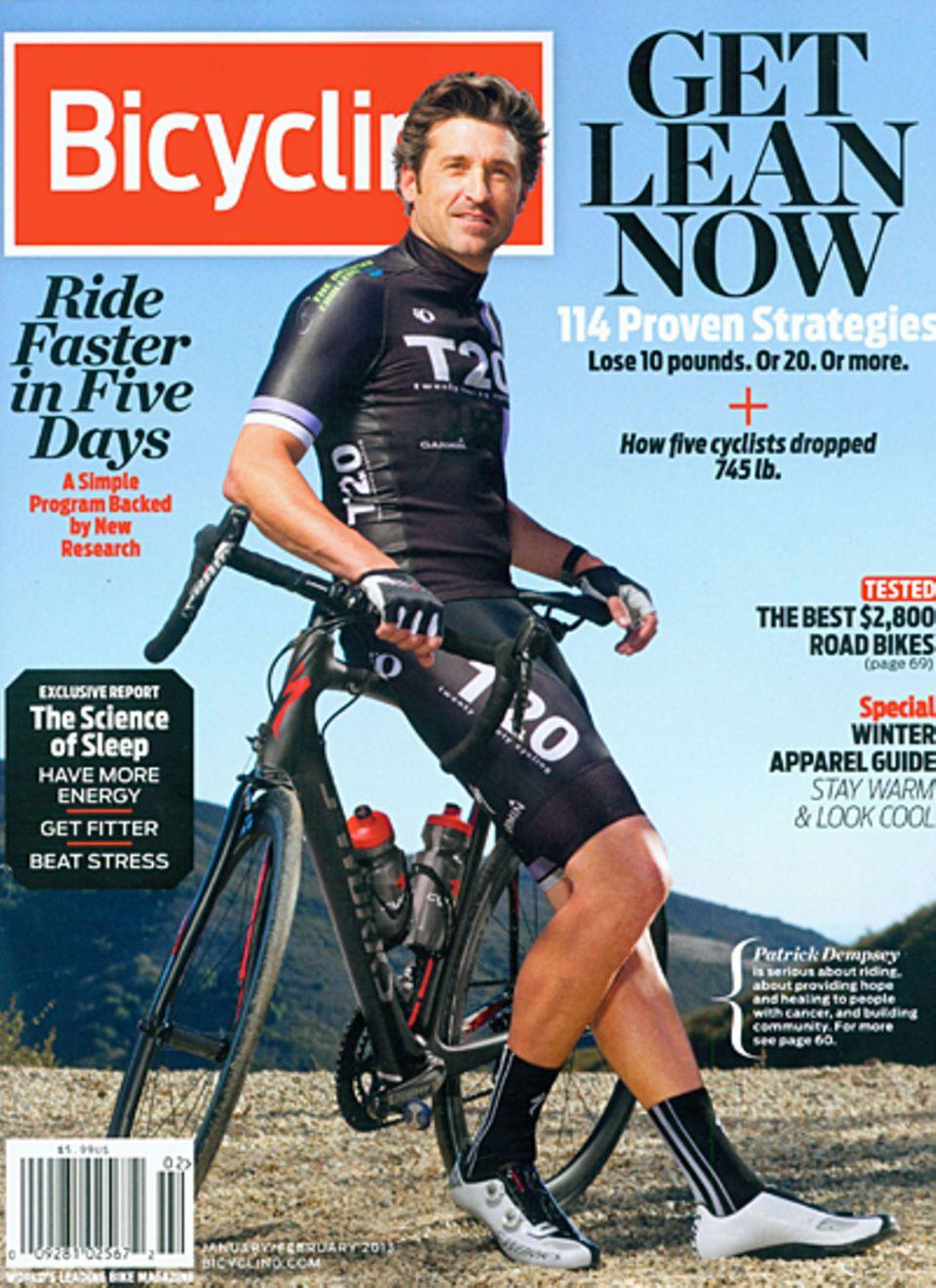 """7. Dezember 2012: Das Radfahren ist Patrick Dempseys große Leidenschaft. Der """"Grey's Anatomy""""-Star ist daher auf dem Cover der Z"""