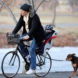 Football-Spieler Tom Brady verbringt mit Sohn Benjamin und Hund einen Tag im Park in Boston.
