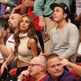Ann-Kathrin Brömmel und Mario Götze lassen sich das Basketballspiel zwischen den Teams Miami Heat gegen die Los Angeles Lakers nicht entgehen.