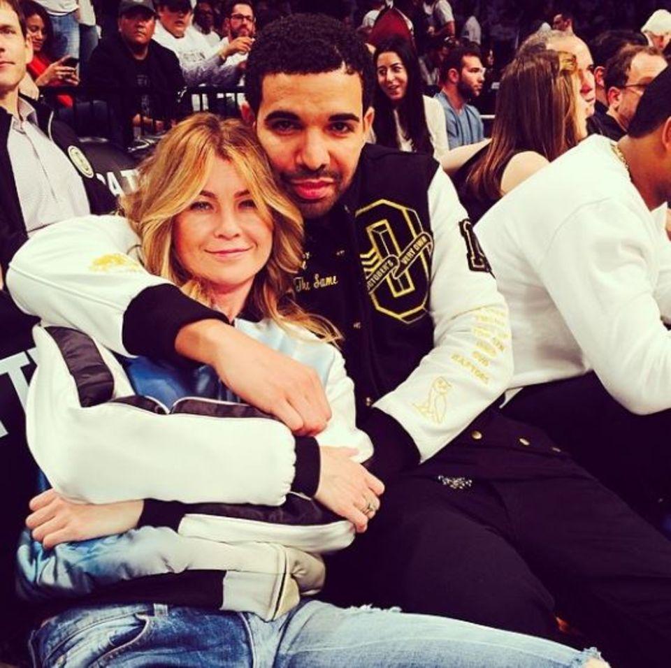 Ellen Pompeo und Rapper Drake sind große Basketballfans und treffen sich in der ersten Reihe bei den Brooklyn Nets.