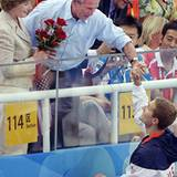 George W. Bush gratuliert dem amerikanischen Schwimmerteam