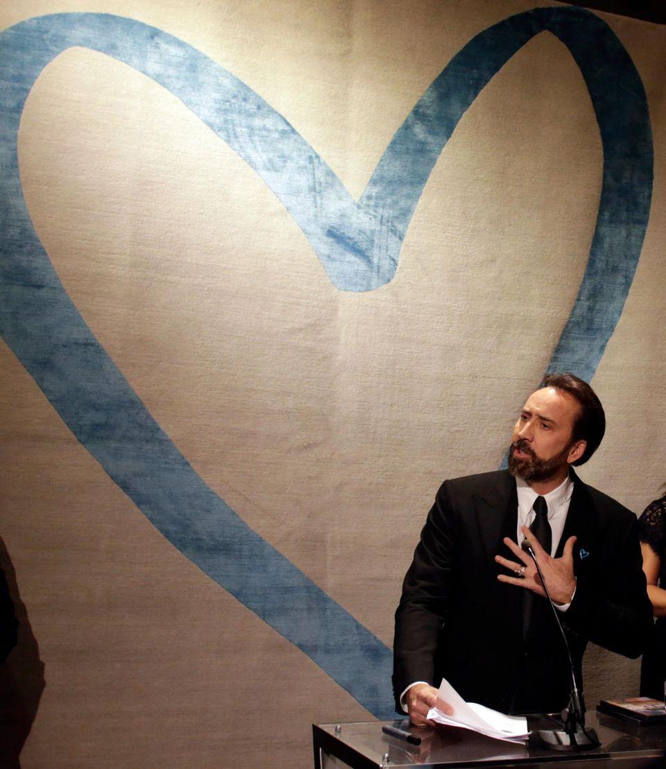 5. November 2013: Nicolas Cage macht sich in Wien gegen Menschenhandel stark. Der Schauspieler ist dort als UN-Sonderbotschafter für Globales Recht zu Gast.