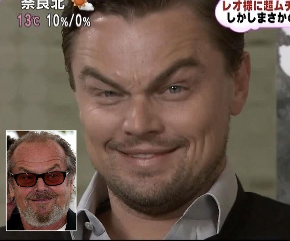 Leonardo DiCaprio imitiert in einer japanischen Talkshow den Blick von Kollege Jack Nicholson.