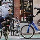 Naomi Watts und Sohn Alexander Pete Schreiber liefern sich ein Grimassen-Duell auf dem Fahrrad.