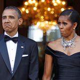 Wie einstudiert! Das US-Präsidentenehepaar Obama zeigt in London ein beeindruckendes Beispiel perfekter Grimassen-Synchronizität