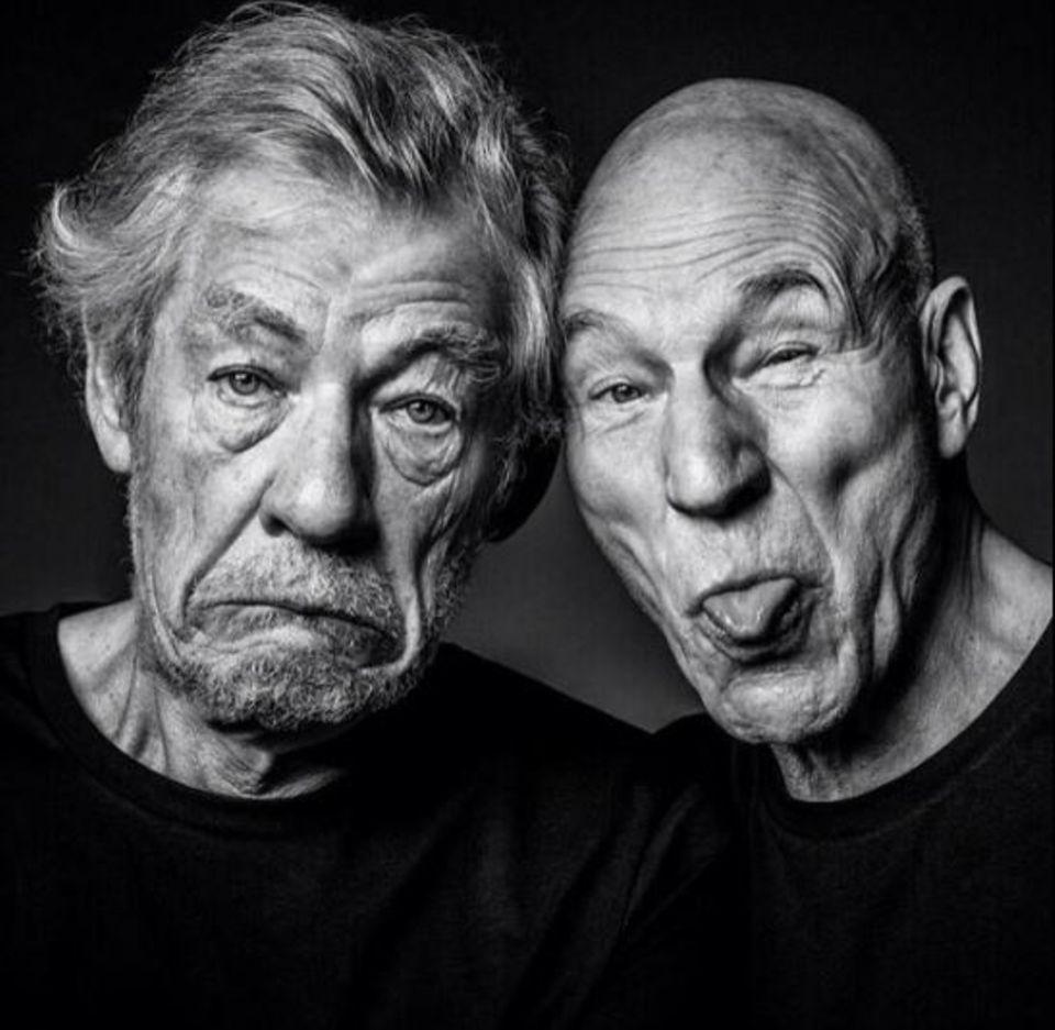 Sie sind beste Freunde und auch im Grimassen schneiden macht ihnen keiner was vor: Ian McKellen und Patrick Stewart albern vor der Kamera.