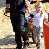 Robin Thicke und Sohn Julian haben den Wagen voll mit Kürbissen geladen.