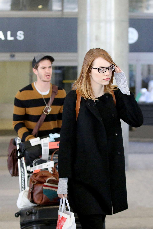 """Andrew Garfield und Emma Stone kommen nach ihrer weltweiten Werbetour für """"The Amazing Spider-Man 2"""" wieder zurück nach Los Angeles."""