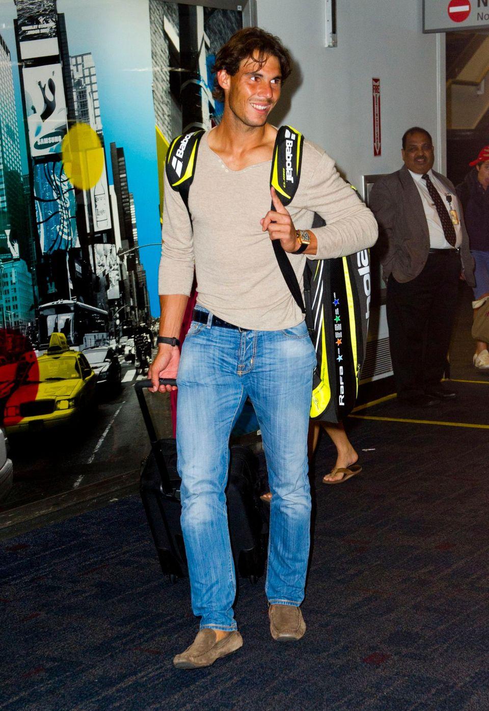 """Wenn Tennisprofi Rafael Nadal auf dem New Yorker Flughafen LaGuardia landet, stehen die """"US Open"""" vor der Tür."""