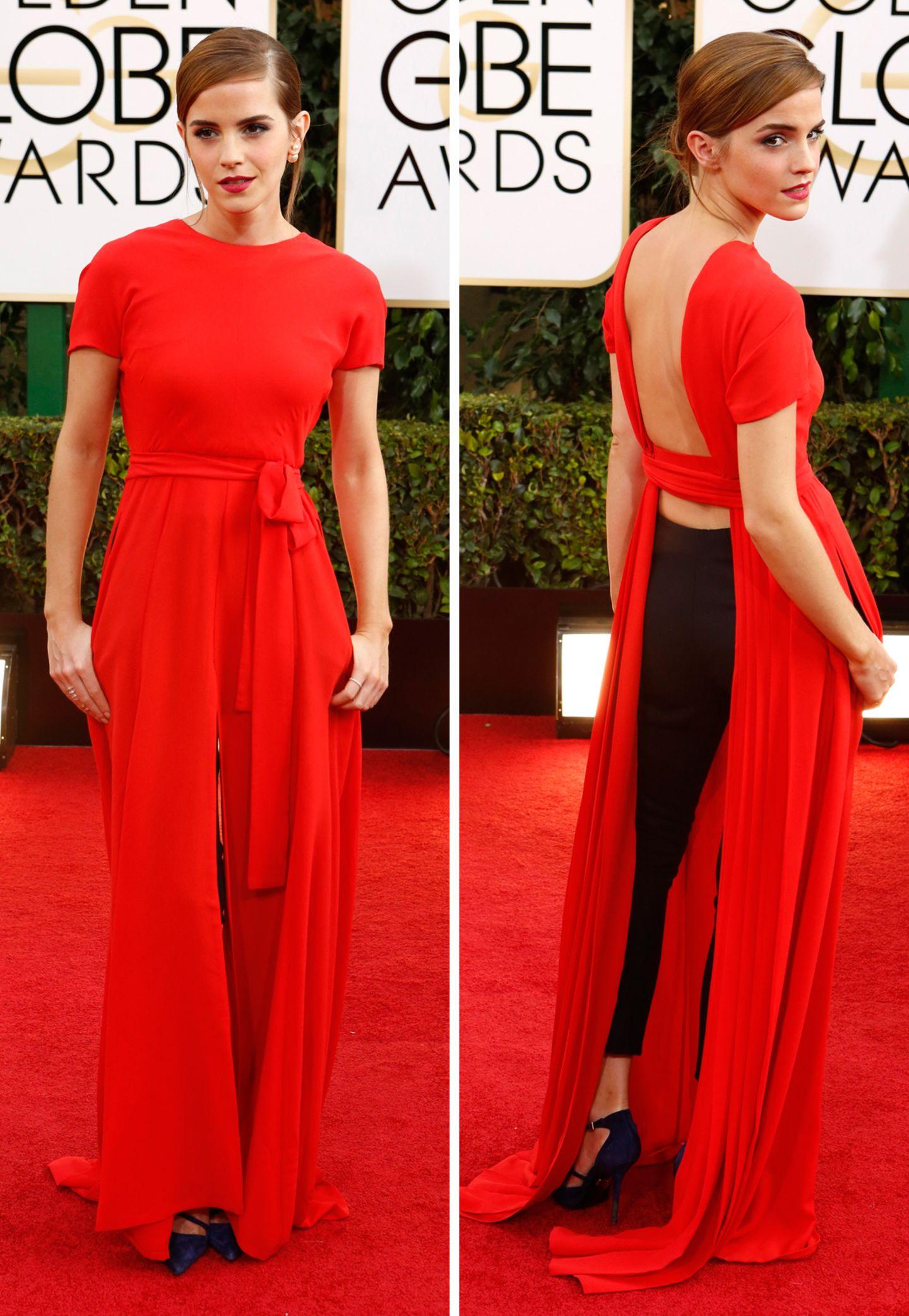 Gewagt, aber nicht bei allen gewonnen: Das Dior-Couture-Ensemble aus Kleid und Hose, welches Emma Watson bei den Golden Globes 2014 trug, stieß bei Kritikern auf geteilte Meinungen.