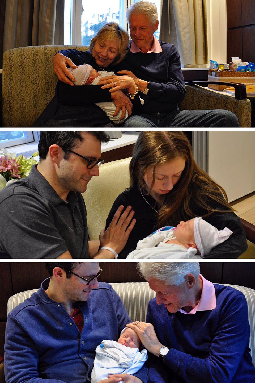 """Juni 2016  Schon einen Tag nach seiner Geburt gibt es bereits drei """"erste"""" Fotos von Aidan Clinton Mezvinsky. Mama Chelsea Clinton, Papa Marc Mezvinsky und die Großeltern Bill und Hillary wollen den Kleinen alle mal auf dem Arm halten."""