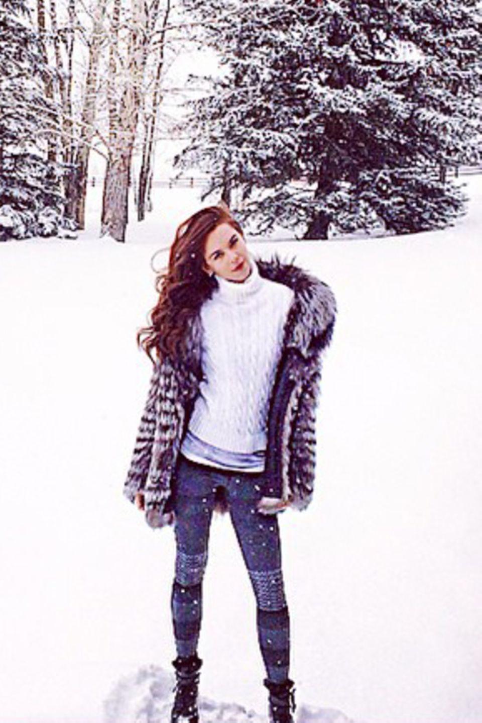 Liliana Matthäus freut sich über den Schnee in Aspen (Colorado).