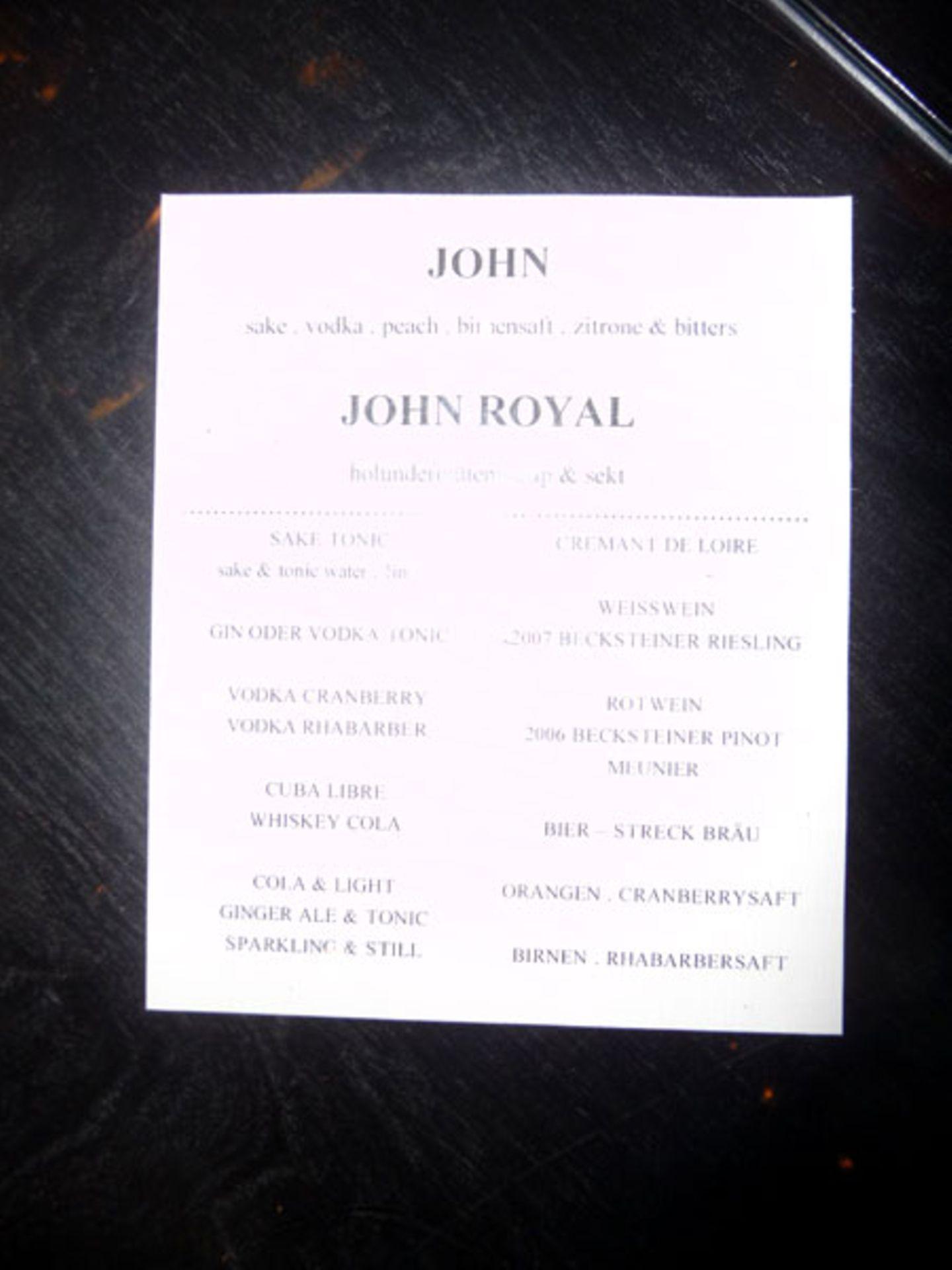 """Es ist angerichtet: Die Drink-Karte zur Premiere von """"John Rabe"""" in der """"Bar Tausend""""."""