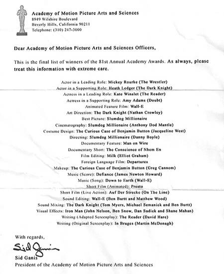 Internet-Gerüchte: Zwei Tage vor der Verleihung spukt diese angebliche Gewinnerliste durchs Netz