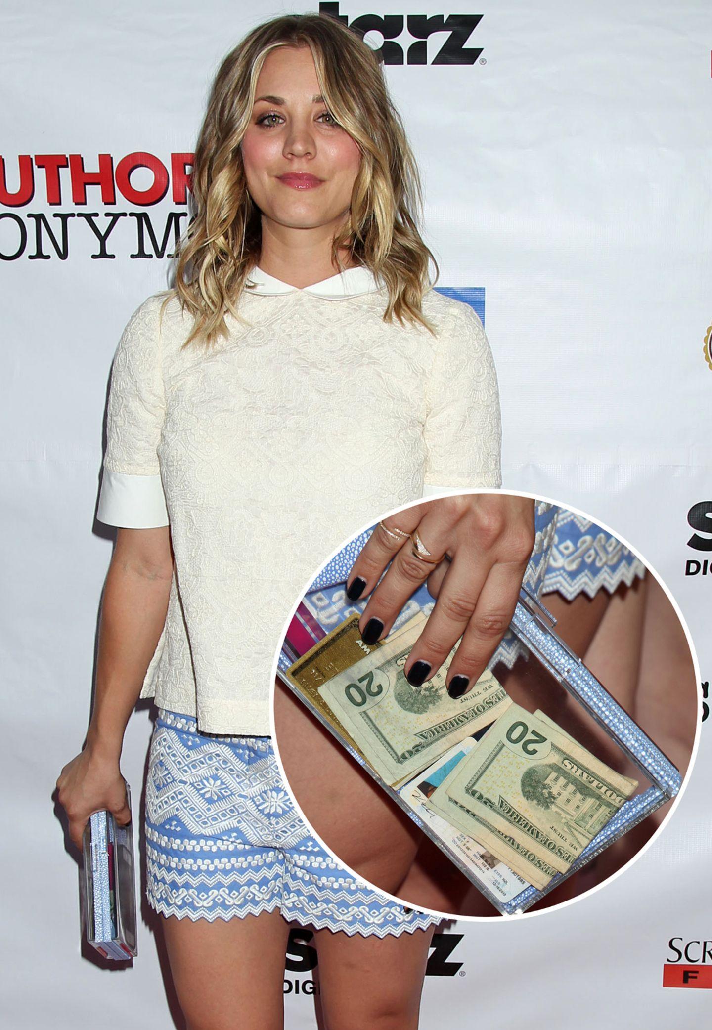 Ein Lipgloss, ein paar Dollar-Scheine und die Kreditkarte - Kaley Couco muss ihre Clutch aus Plexiglas nicht einmal öffnen, um zu wissen, was drin ist.