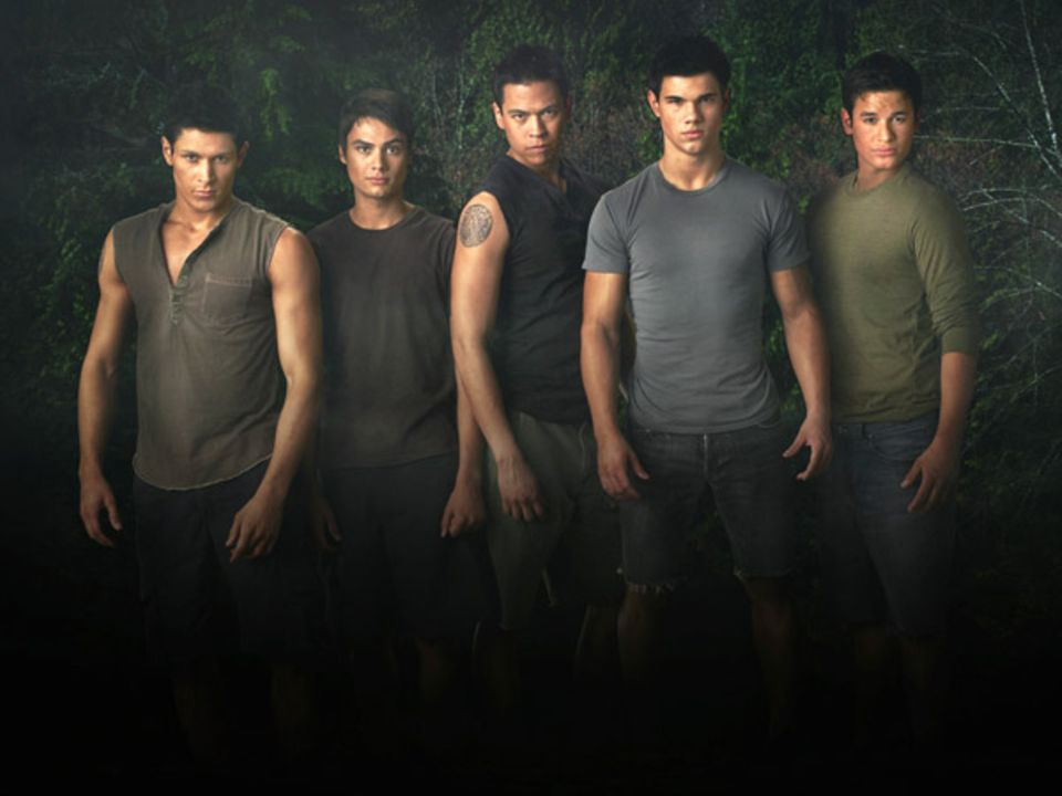 Die Werwölfe auf einen Blick: Paul (Alex Meraz), Embry (Kiowa Gordon), Sam (Chaske Spencer), Jacob (Taylor Lautner) und Jared (B