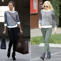 Sowohl Zoe Saldana als auch Gwen Stefani landen mit ihrem Pullover in Schwarz-Weiß-Optik eine Punktlandung.