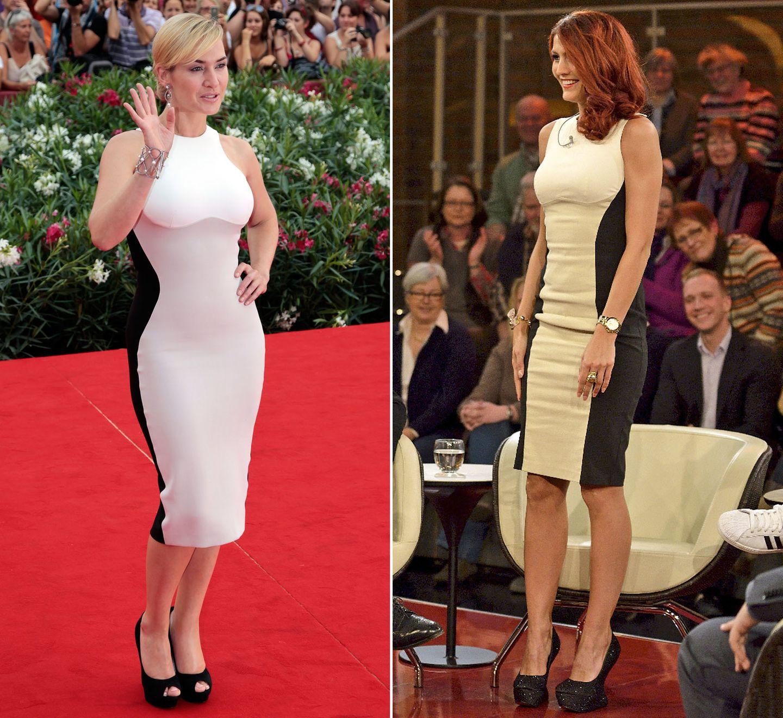 Kate Winslet zeigte bei einem Besuch in Venedig in dem figurbetonten Kleid von Stella McCartney, wie schön weibliche Rundungen sind. Fiona Erdmann hingegen, die in der ZDF-Talkshow von Markus Lanz zu Gast gewesen ist, hat mit dem gleichen Kleid eher die Wichtigkeit der richtigen Passform demonstriert.