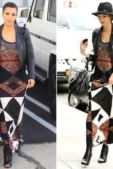 Kim Kardashian und Lily Aldridge schlendern beide in einem auffälligen Maxikleid von Givenchy durch Los Angeles. Ergänzend dazu tragen die Damen übereinstimmend eine schwarze Lederjacke und hohe Peep Toe-Stiefeletten.