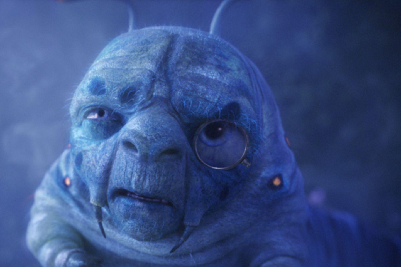 Die kleine blaue Raupe lebt auf einem großen Pilz, welcher denjenigen, der von ihm ein Stück isst, nach Bedarf größer oder klein
