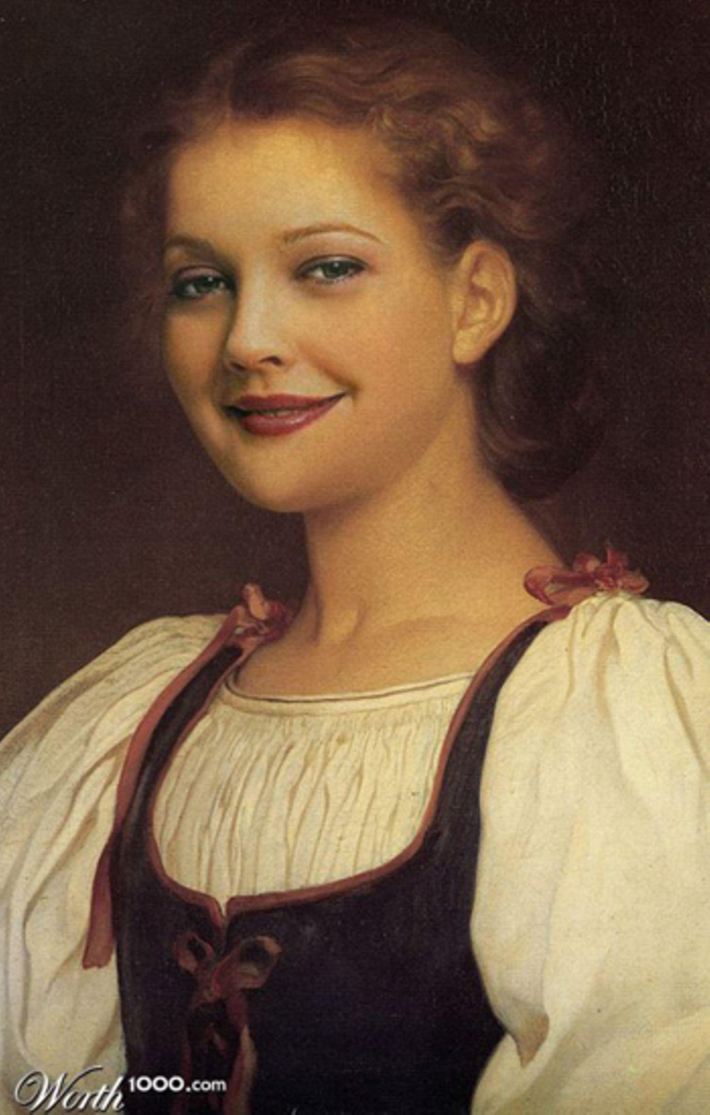 Drew Barrymore als Ölgemälde.