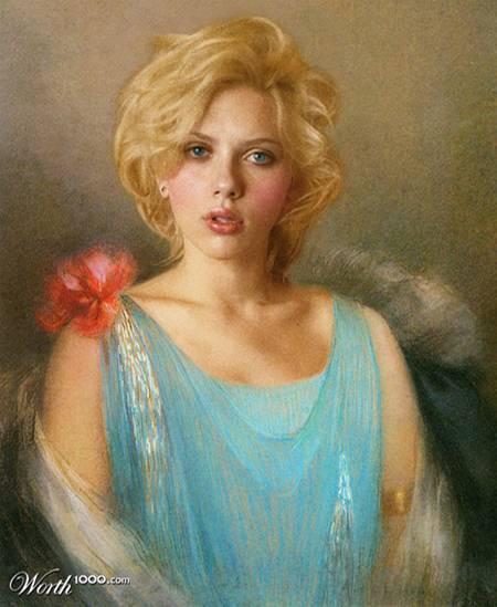 Scarlett Johansson als Ölgemälde.