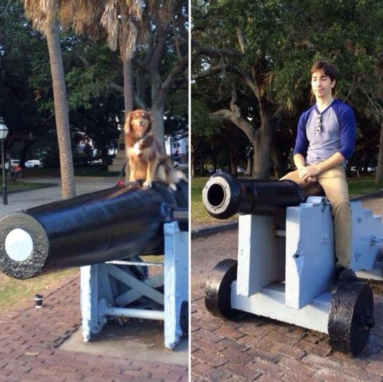 November 2013  Justin Long ist zu Scherzen aufgelegt und posiert mit dem Hund von Amanda Seyfried auf einer Kanone.