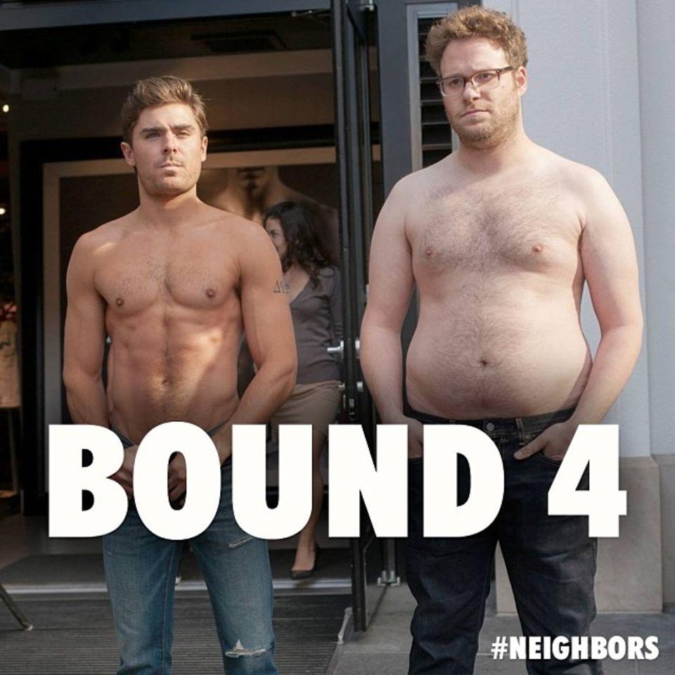 """November 2013  Bei den Dreharbeiten vom Film """"Neighbors"""" liefern Zac Efron und Kollege Seth Rogen eine weitere kleine Parodie von Kanye Wests """"Bound 2"""" und posieren mit nacktem Oberkörper."""