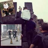 September 2013  Nachdem er auf dem Skateboard durch Peking gefahren ist, ist Justin Bieber offenbar so kaputt, dass er sich von seinen Bodyguards die Chinesische Mauer hochtragen lassen muss.