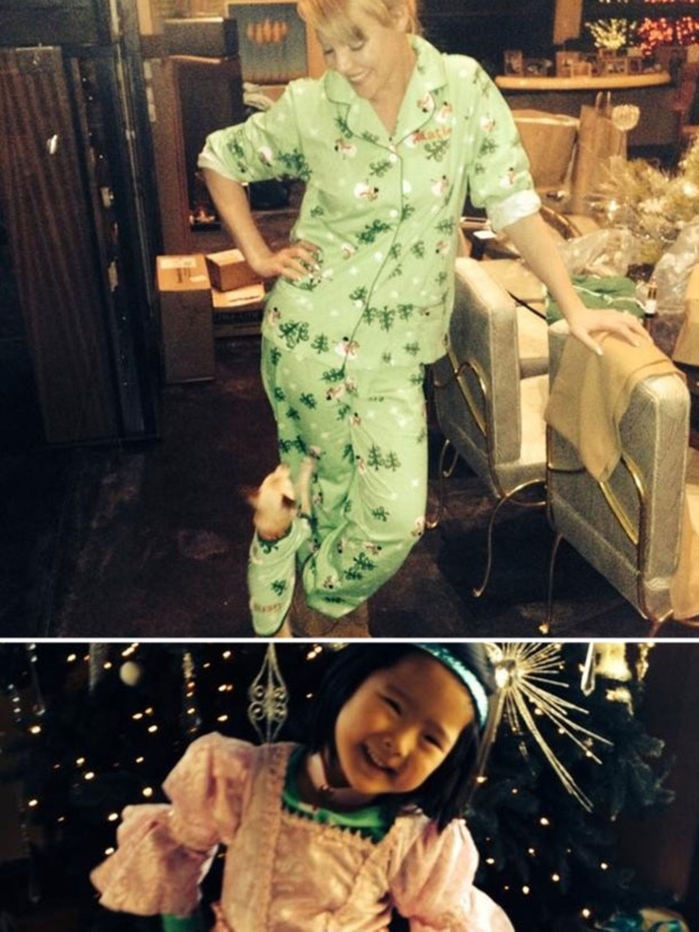 Dezember 2013  Während Tochter Naleigh sich über ihr neues Prinzessinnenkleid zu Weihnachten freut, trägt Mutter Katherine Heigl Partnerlook-Pyjama mit Hund Gerti.