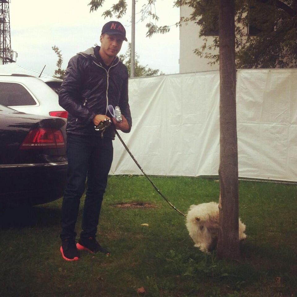 """September 2013  Während Marijke Amado noch im """"Promi Big Brother""""-Container sitzt, geht Oliver Pocher mit ihrem Hund Jottem in Freiheit Gassi."""