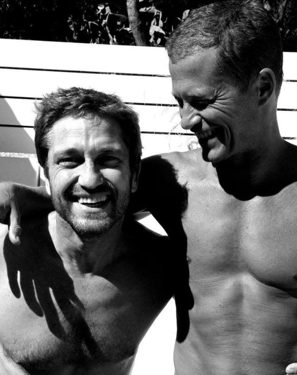 """Nach seinem Besuch beim Sommer-""""Wetten,dass"""" macht Hollywoodstar Gerard Butler einen Abstecher zu Til Schweigers Villa auf Mallorca. Schweiger verbringt den ganzen Sommer dort."""