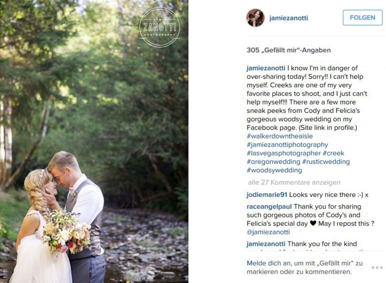 15. August 2015: Paul Walkers († 30. November 2013) kleiner Bruder Cody Walker gibt seiner großen Liebe Felicia Knox das Jawort.
