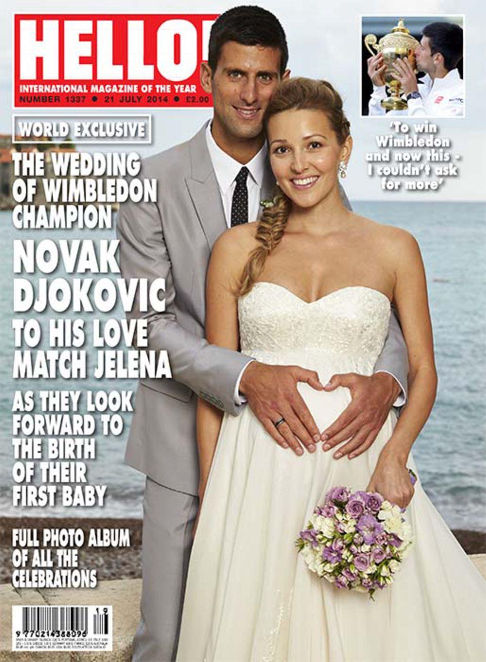 10. Juli 2014:  Nur wenige Tage nach seinem Wimbledon-Sieg hat Novak Djokovic seiner schwangeren Verlobten Jelena Ristic in Montenegro das Jawort gegeben.