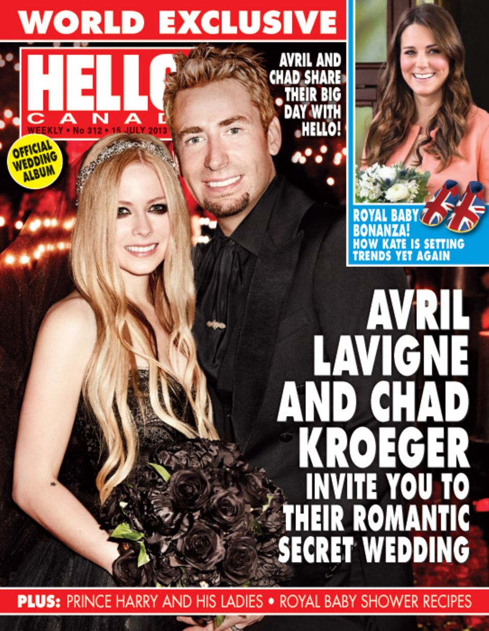 """1. Juli 2013: Das kanadische """"Hello Magazine"""" zeigt exklusiv die Hochzeitsbilder von Avril Lavigne und Chad Kroeger. Das Paar hat sich in Südfrankreich das Ja-Wort gegeben. Die Braut wählte ein schwarzes Kleid mit den dazu passenden Blumen."""