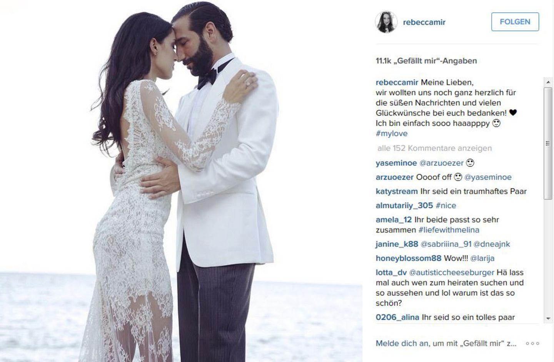 27. Juni 2015: Das Traumpaar Rebecca Mir und Massimo Sinató heiratet bei einer romantischen Zeremonie unter freiem Himmel in Palermo. Mit dieser atemberaubenden Aufnahme bedankt sich Rebecca für die zahlreichen Glückwünsche auf Facebook.