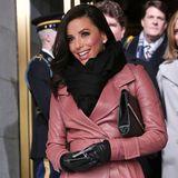 Trendlook: Mit dem altrosafarbenen Leder-Trenchcoat von Bally ist Eva Longoria bei den Festivitäten zu Obamas zweiter Amtseinführung ein wahres Highlight..