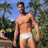 Latino-Sänger und Schauspieler Ricky Martin kann sich oben ohne wirklich sehen lassen. Sein durchtrainiertes Sixpack ist ein wahrer Blickfang.