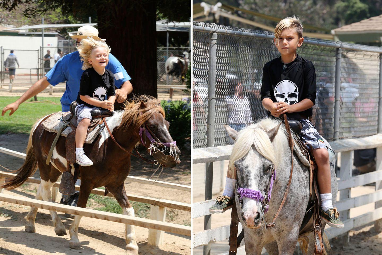 4. Juli 2013  Am Independence Day geht Mama Gwen mit Kingston und Zuma zum Reiten in den Griffith Park in Los Angeles. Einer ihrer Söhne hat dabei allerdings offenbar mehr Spaß als der andere.