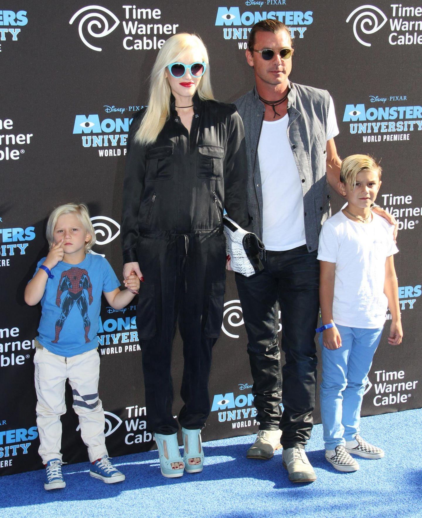 """17. Juni 2013  Familienausflug ins Kino: Gwen, Gavin und die Kinder schauen sich die Premiere von """"Monsters University"""" in Los Angeles an."""
