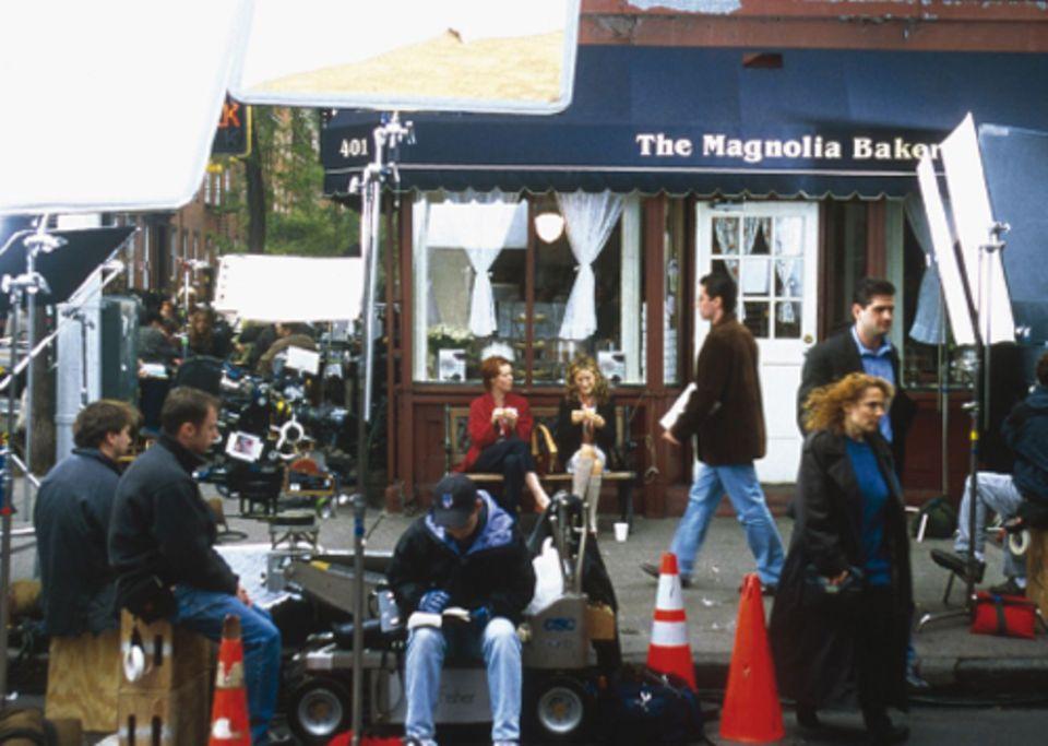 Bei Dreharbeiten zur dritten Staffel mit Sarah Jessica Parker und Cynthia Nixon: